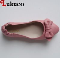 Lukuco pure color butterfly knot design pointed toe women boat flats microfiber made slip on shoes with pigskin inside