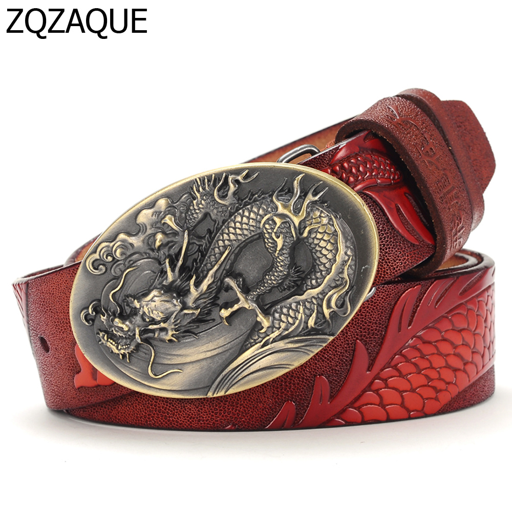 Chinese Dragon Style 2019 Men's Luxury Quality Cowskin Leather   Belts   Fashion Male Embossed Animal Pattern Gift Waistbands SY1328