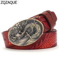 Chinese Dragon Style 2017 Men S Luxury Quality Cowskin Leather Belts Fashion Male Embossed Animal Pattern