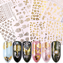 16pcs Gold Nail Polish Stickers Sieraden Ketting Bloemen Jungle Bladeren Water Decals Sliders voor Nagels Accessoires BESTZ YY16
