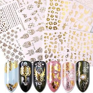 Image 1 - 16pcs Gold Nail Polish Stickers Sieraden Ketting Bloemen Jungle Bladeren Water Decals Sliders voor Nagels Accessoires BESTZ YY16