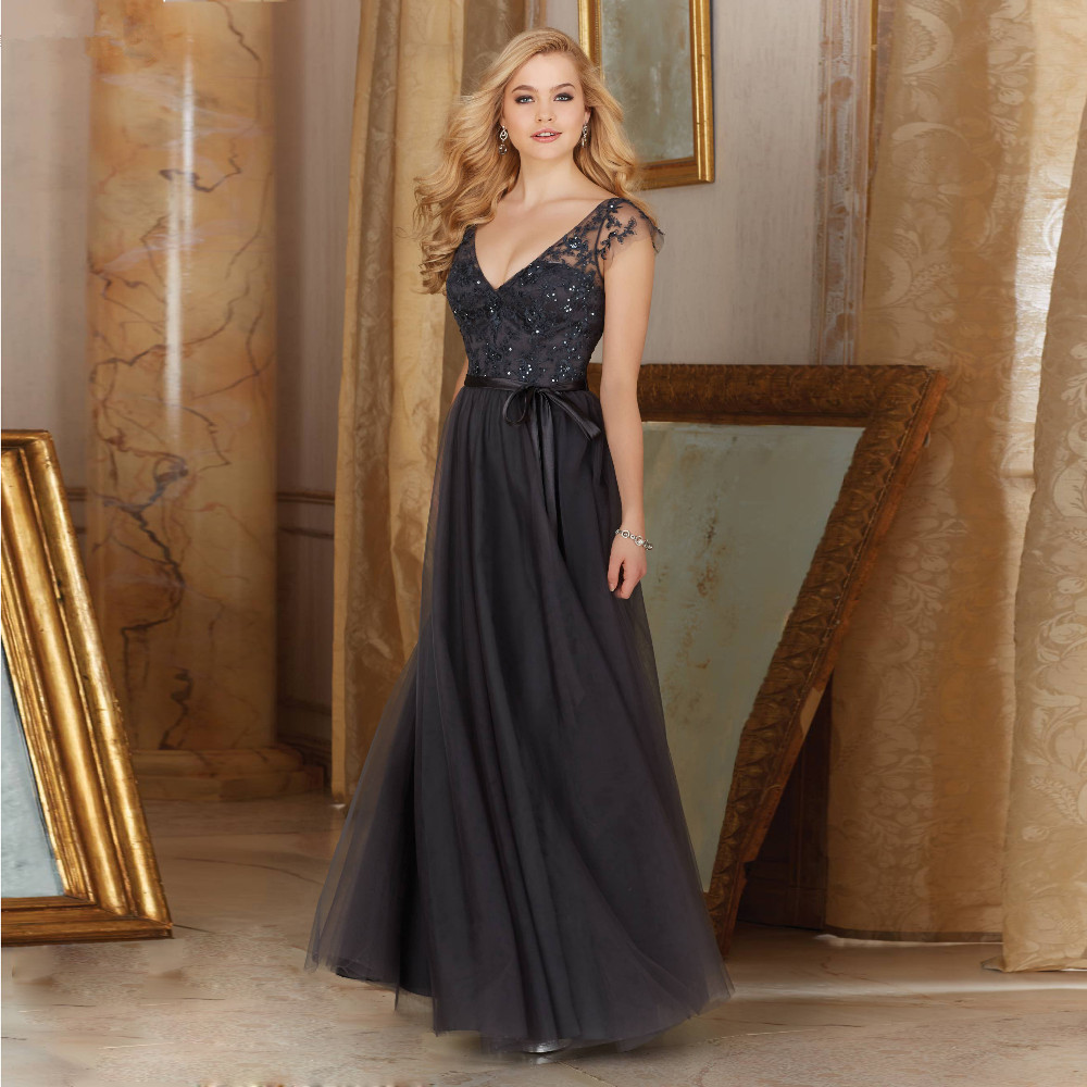 FF629 Attractive A-Line V-Neck Cap Sleeve Sequins Tulle Bridesmaid Dress 2016