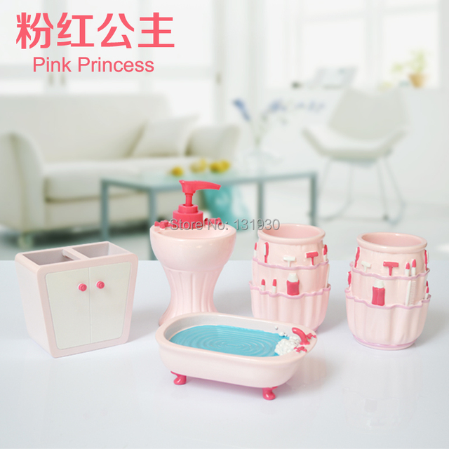 Free Shipping Cartoon Bathroom 5 Pieces Set High Class Resin Bath  Accessories Pink Princess Series