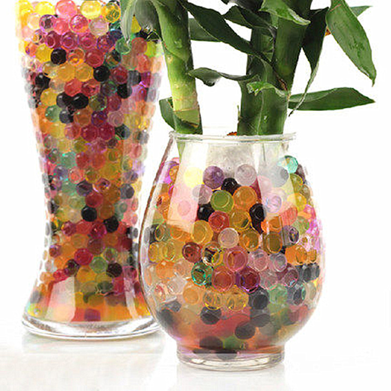 7200pcs/lot 12 colors Water Plant Flower Jelly Magic Crystal Soil Mud Water Pearls Gel Beads Balls For Family Hotels Restaurants