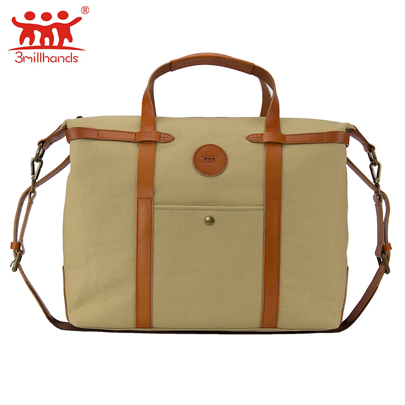 ФОТО Limited Edition 3Millhands 2017 brand canvas men messenger bag pu leather patchwork canvas shoulder bag cross-body men bag