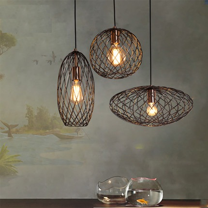 IWHD Retro Loft Style Barbed Wire Droplight Industrial Vintage Pendant Light Fixtures For Dining Room Edison Hanging Lamp