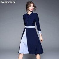 Elegant Women Blue Office Autumn Dress Robe Femme Ete 2018 Kleider Damen Ladies A line Tshirt Dress Robe Pull Femme Hiver K167