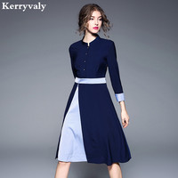 Elegant Women Blue Office Autumn Dress Robe Femme Ete 2019 Kleider Damen Ladies A line Tshirt Dress Robe Pull Femme Hiver K167