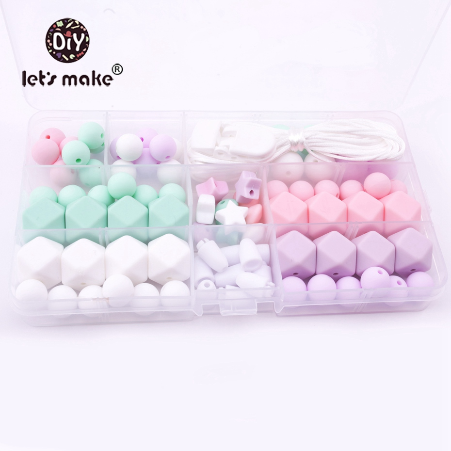 Let's Make Baby Teether Set Unfinished Chewable Silicone Round/Hex Beads Diy Jewelry Teething Necklace Baby Shower Gift Teether