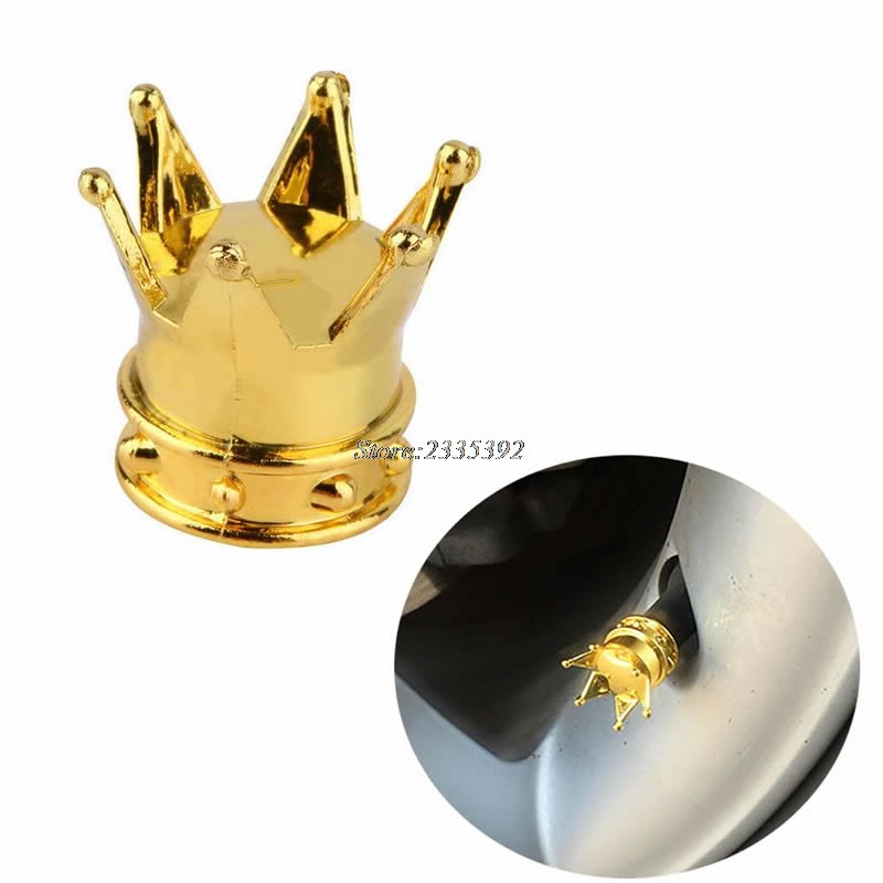 Crown Tyre Tire Wheel Valve Stem Air Dust Cover Cap For Car Bicycle Gold