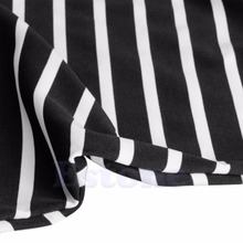 Fashion Lady Sexy Summer Cool Black And White Stripes Loose V-neck Halter Dress Hot
