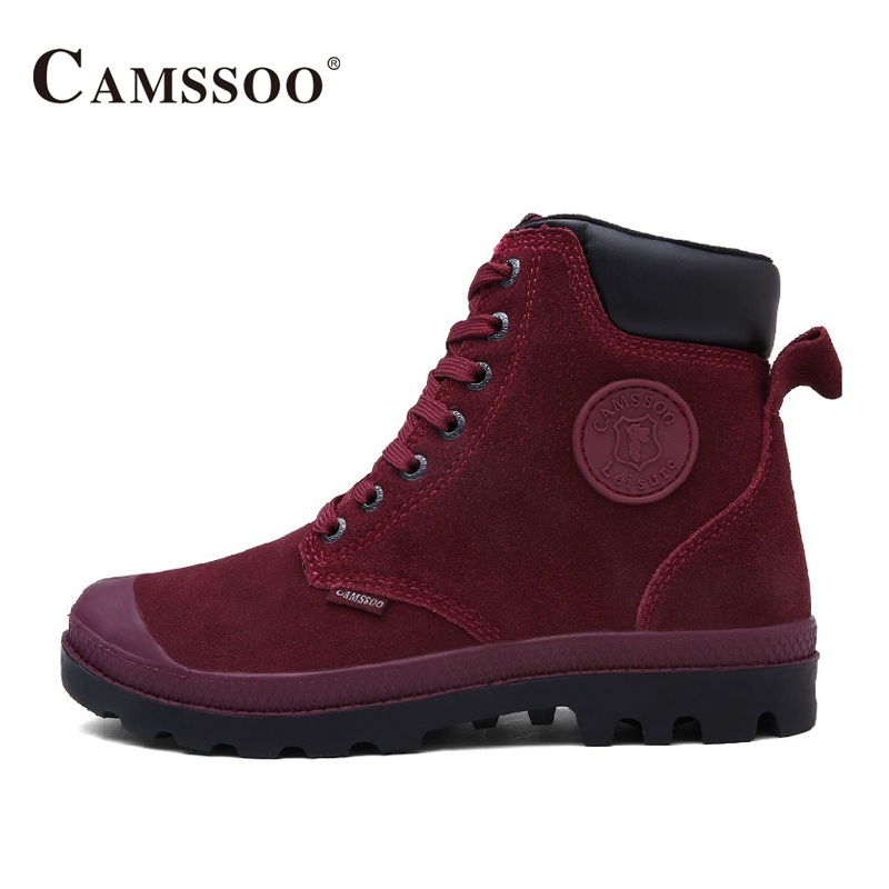 Camssoo Outdoor Hiking Boots Women Warm With Fur Climbing Mountain Shoes Winter Women Outdoor Shoes  B2842 humtto new hiking shoes men outdoor mountain climbing trekking shoes fur strong grip rubber sole male sneakers plus size