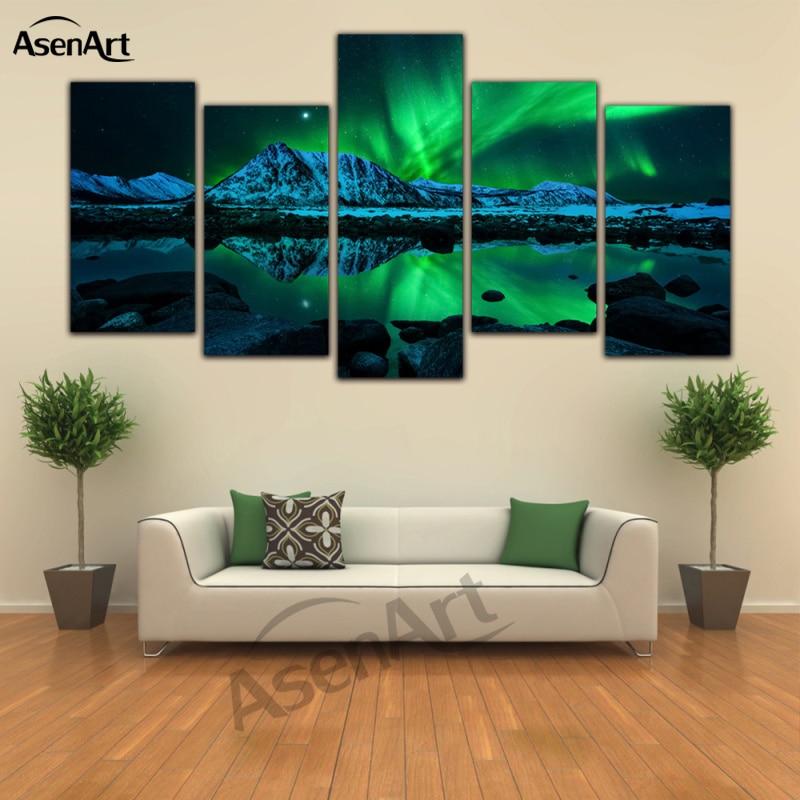 5 piece canvas art set red wine aurora borealis landscape print canvas painting for living room. Black Bedroom Furniture Sets. Home Design Ideas