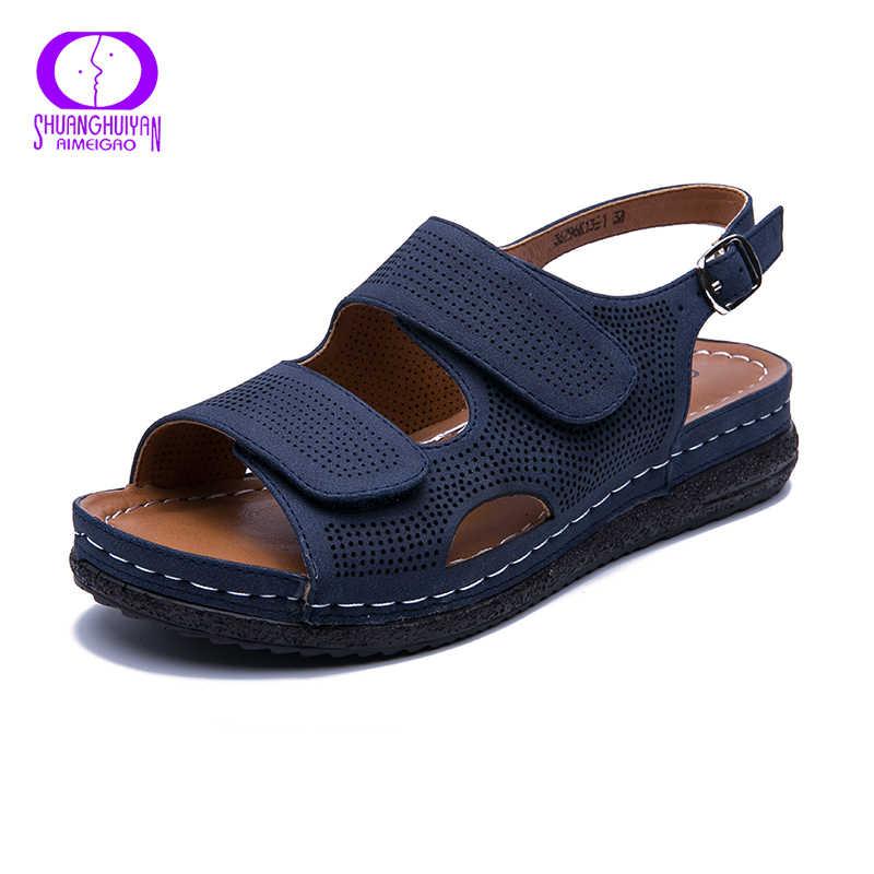 AIMEIGAO/повседневные женские сандалии размера плюс; удобные кроссовки на плоской подошве; обувь на каблуке; дышащая удобная Уличная обувь на низком каблуке; Новинка 2019 года