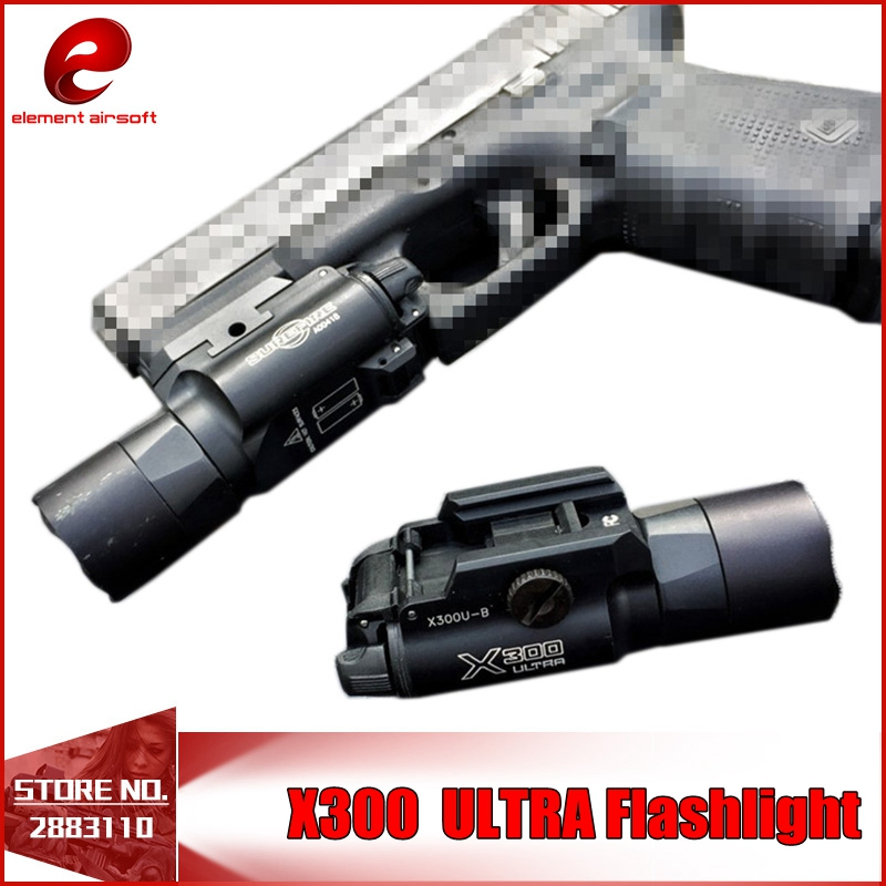 Element X300 Ultra Weapon Lights Fits Handguns with Picatinny or Universal Rail for Hunting LED Pistol M4 Rifle Flashlight EX359 ex367 element sf x400u ultra led tactical light 20mm picatinny weaver rail weapon light with red laser for pistol or hunting