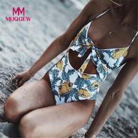 MUQGEW 2018 Sexy   One     Piece   Swimsuit Women Swimwear Print Bodysuit Bandage Hollow Out Beach Wear Bathing   Suit   Monokini Swimsuit