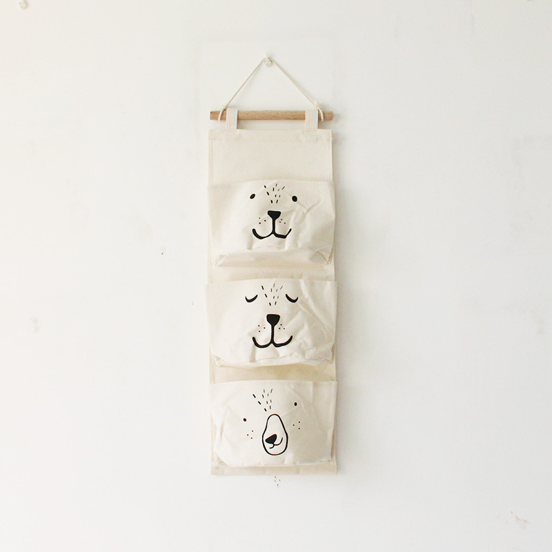 Ogquaton Bolsa para colgar en el armario 8 bolsas de algod/ón y lino Costuras a rayas Organizador de pared