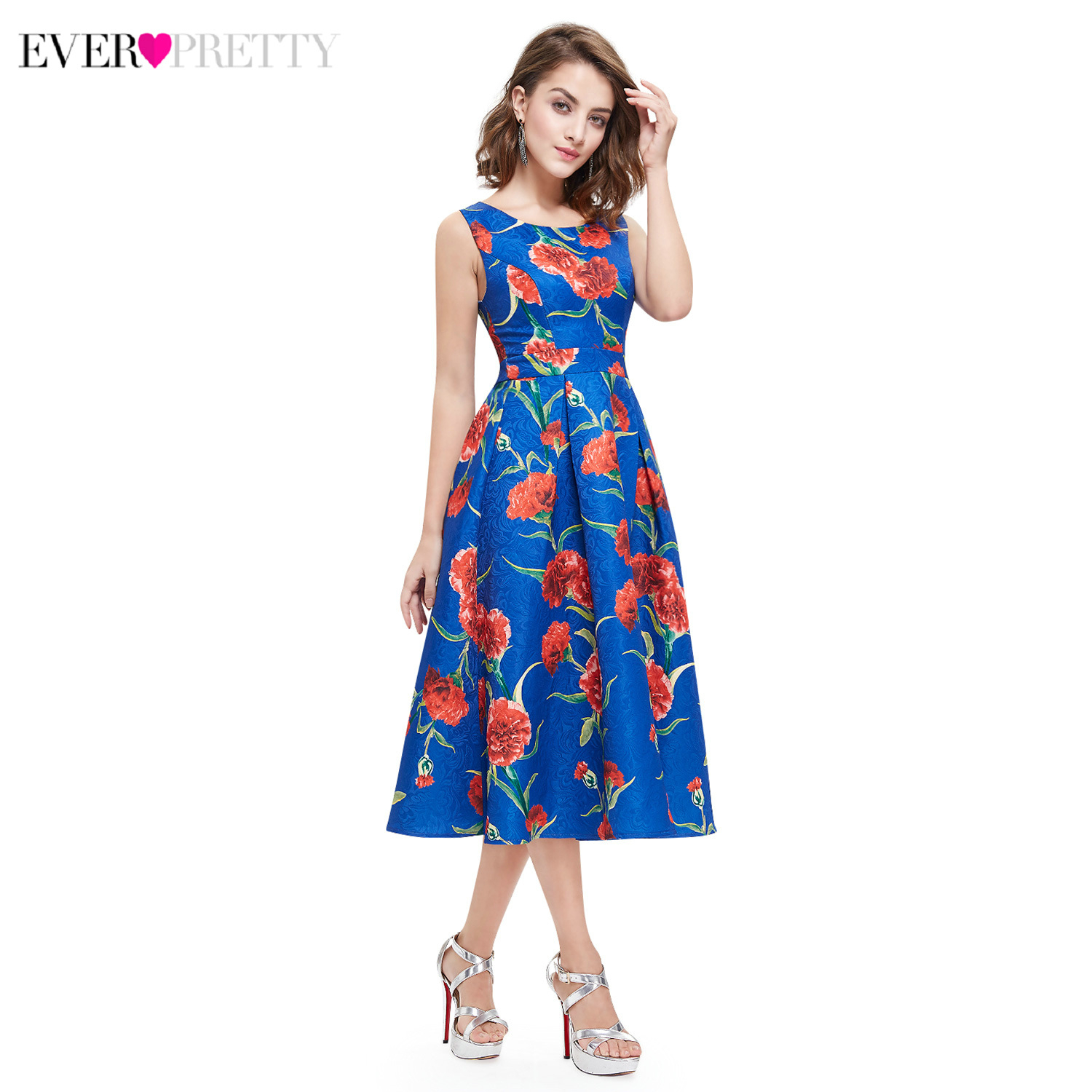 2020 Homecoming Dresses Ever Pretty AS05443 Summer A-line Satin Vestidos Coctel Floral Printed Sleeveless Cheap Short Party Gown