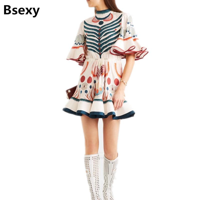 harajuku Dress for Lady 2018 summer New Women Runway Designer Print Flare Sleeve Ruffle mini Party Dress fish tail boho dress