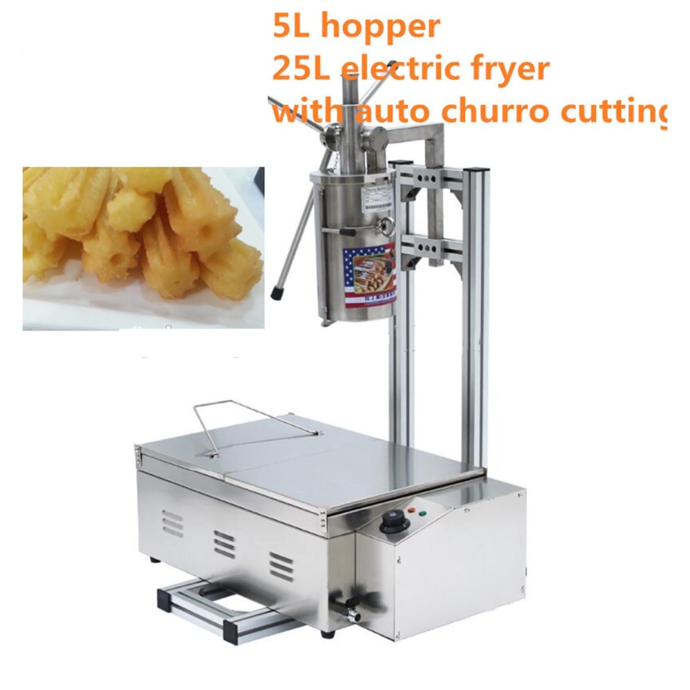 (3 in 1) 5L Manual 3 Solid Holes Churros Maker Machine with Cutter + Working Stand + 25L 220v Electric Deep Fryer salter air fryer home high capacity multifunction no smoke chicken wings fries machine intelligent electric fryer