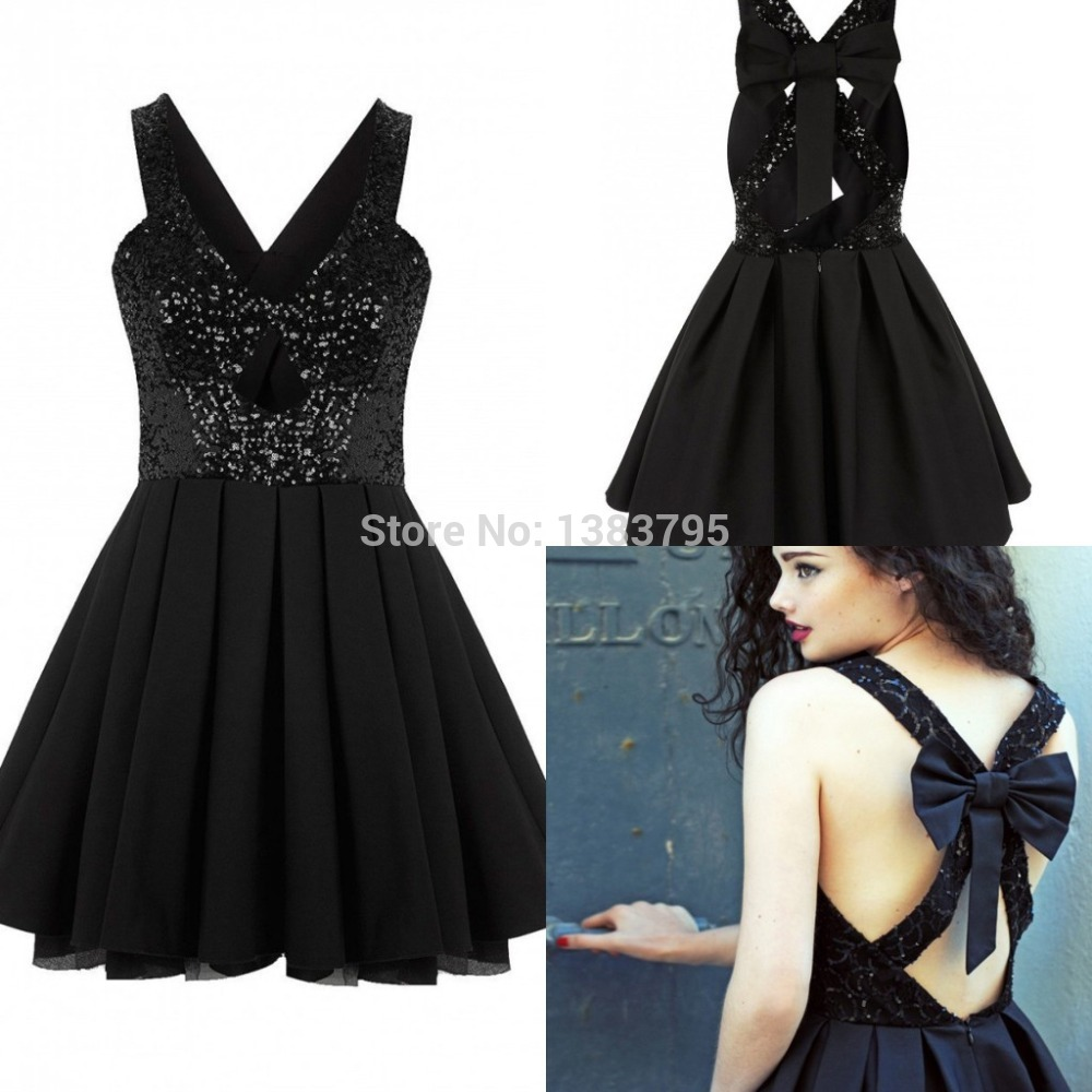2555978e36b8 Short Sequin Homecoming Dresses Black Sexy Design Spaghetti Straps Bow Back  Low A Line Mini Cocktail Party Gown Semi Formal