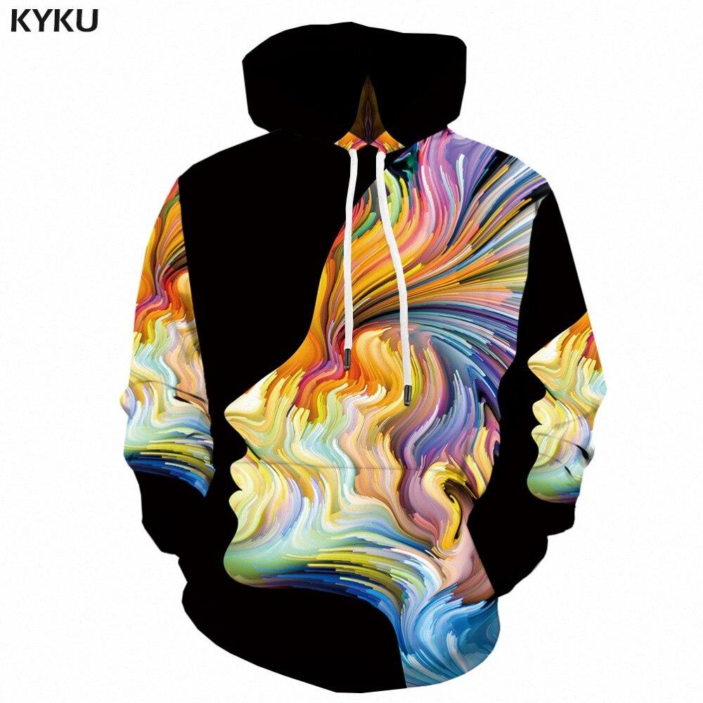 KYKU 3d Hoodies Men Psychedelic Hoodie Art Abstract Printed Sweatshirt Pullover Hooded Gothic Colorful Mens Clothing Streetwear