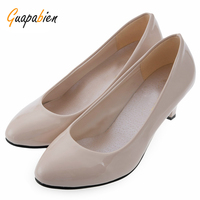 Beleza Spring Summer Elegant Ladies Pumps Shallow Mouth Low Heel Business Shoes Women PU Leather Shoes