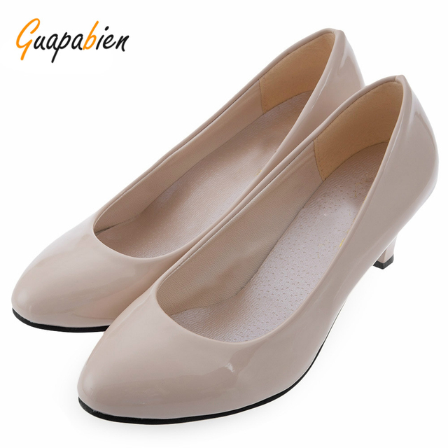 35d2b3aa755 Guapabien Spring Summer Elegant Ladies Pumps Shallow Mouth Low Heel  Business Shoes Women PU Leather Shoes Heels Single Shoes