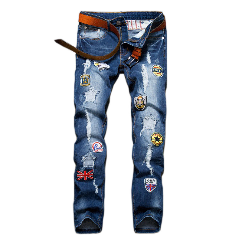 Mens Blue Printed Jeans Embroidery Badges For Men Ripped Button Jeans Casual Pants High Quality Cotton Denim Jeans