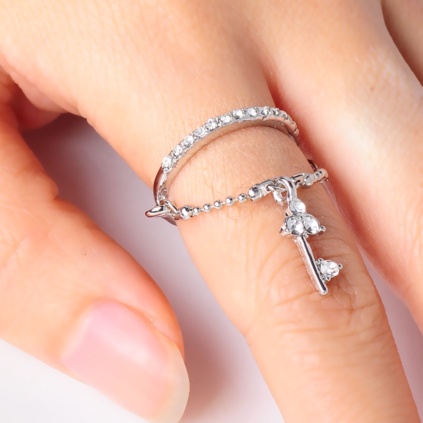 Artilady fashion crystal ring chain with key design engagement gold plated rings jewelry free shipping