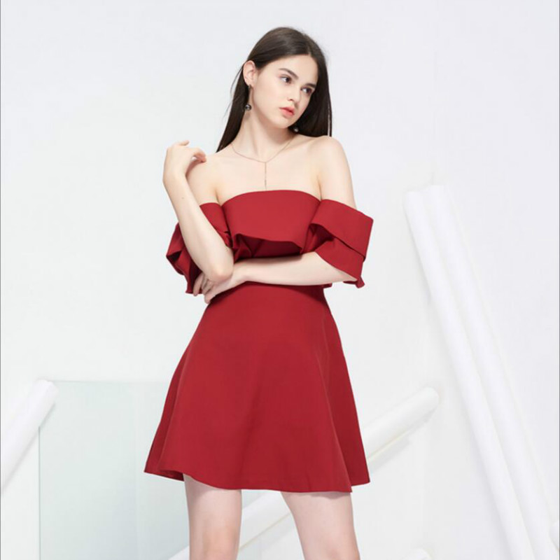 Summer Dress Short Slash Neck Elegant Sexy Off shoulder Ruffles Red Club Party Dress Short For Women High Quality Free Shipping