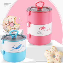 Cartoon Lunch Box with Compartment Multi-layer Bento Food Container for Kids Students Outdoor School Picnic