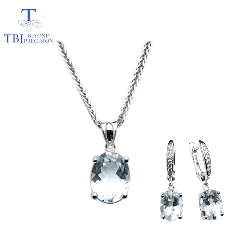 TBJ,natural aquamarine gemstone fine jewelry Necklaces and clasp earrings set  925 silver gemstone for women with gift boxTBJ,natural aquamarine gemstone fine jewelry Necklaces and clasp earrings set  925 silver gemstone for women with gift box