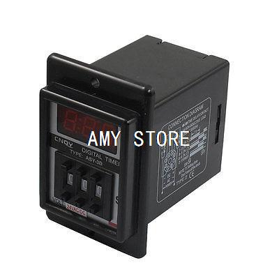 ASY-3D AC/DC 24V 9.99 Second Digital Timer Programmable Time Delay Relay Black 8 Pins