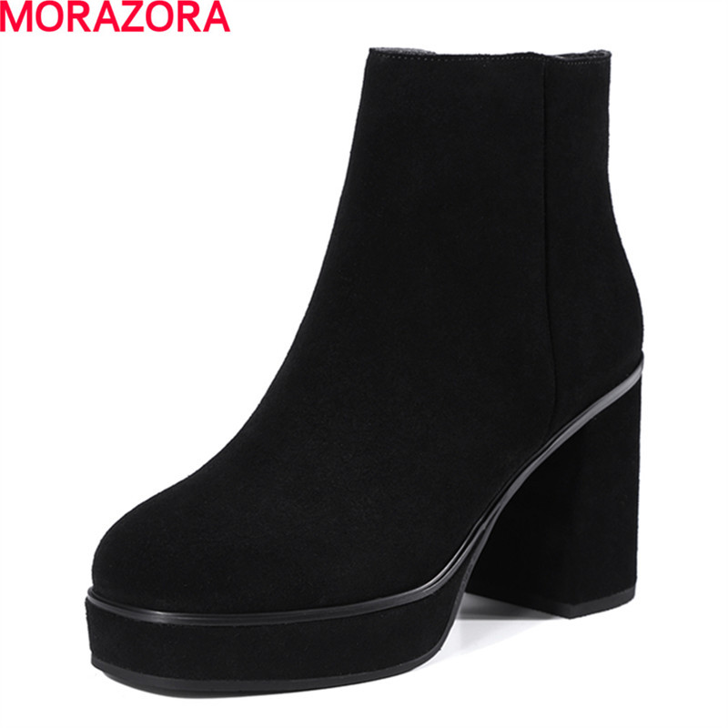 MORAZORA hot sale fashion women boots spring autumn square toe popular high heel ankle boots top quality platform boots hot sale new spring autumn fashion women