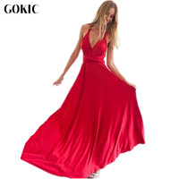 GOKIC 2017 New Sexy Women Boho Maxi Club Dress Black Bandage Long Dress Party Multiway Bridesmaids