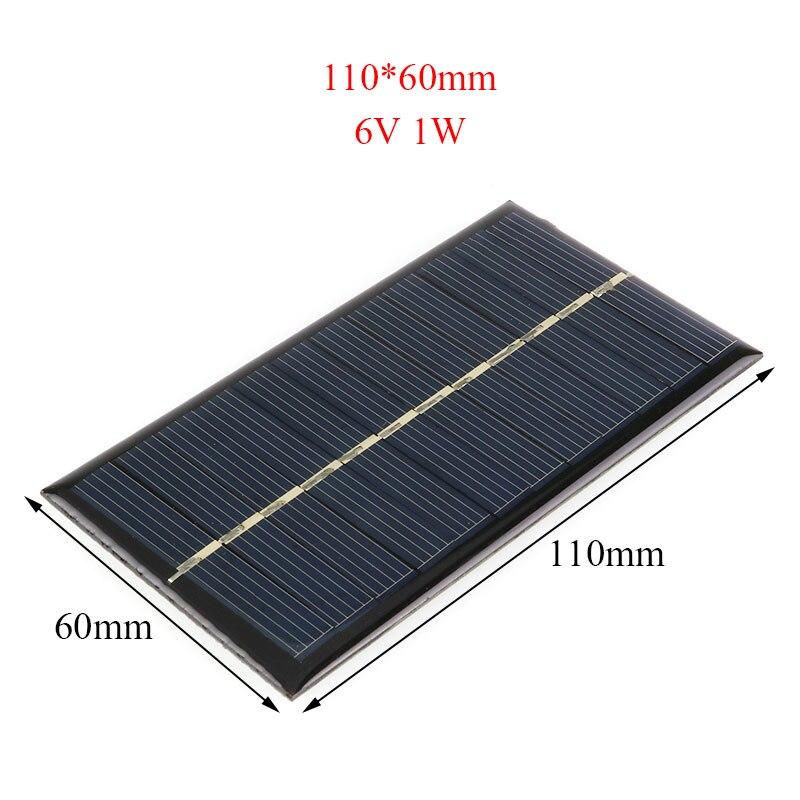 DIY Solar Panel 6V 1W 110 60mm for Lamp Light Toy Car Phone Energy Battery Solar