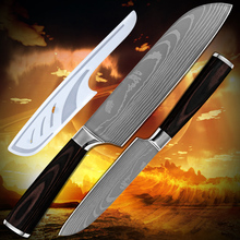 Hot products santoku knife 5 inch 7 inch kitchen knives Damascus pattern 7Cr17 stainless steel blade high-grade cooking tools