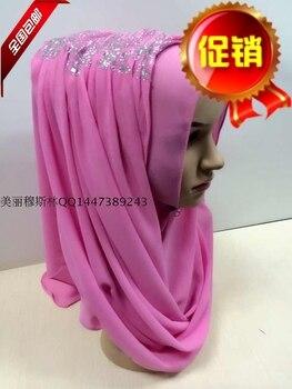 The new red wine coffee pearl chiffon long scarf scarf Hui muslim hijab convenient simple primer cap