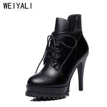 14e16aea 2018 mujeres de alta calidad botas plataforma botines con cordones de cuero  caliente invierno negro Zapatos mujer Botines botas .