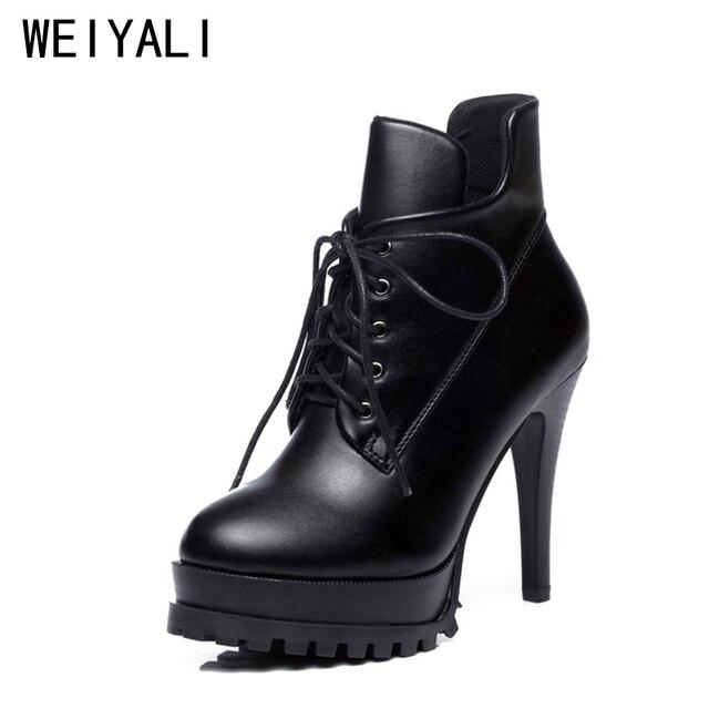 692b736fd9fe1 2018 wysokiej jakości kobiety buty platformy wysokie obcasy botki Lace-Up  ciepłe skóry czarne zimowe