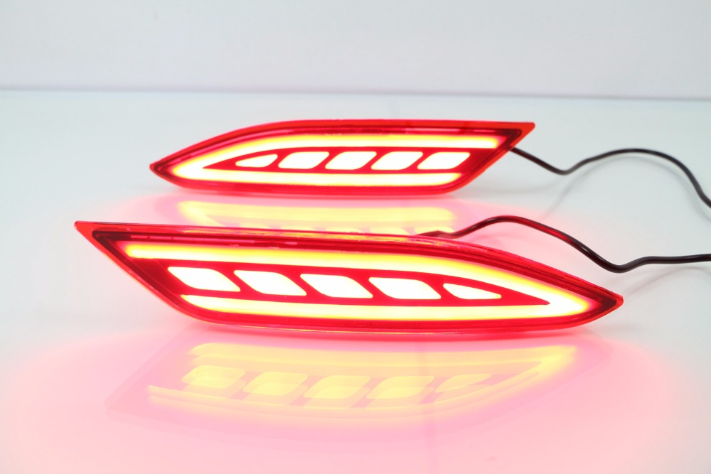 LED rear bumper light with 3 functions (running light + brake light + moving turn signals) for Honda HR-V vezel 2015-16 led rear bumper warning lights car brake lamp cob running light led turn light for honda civic 2016 one pair