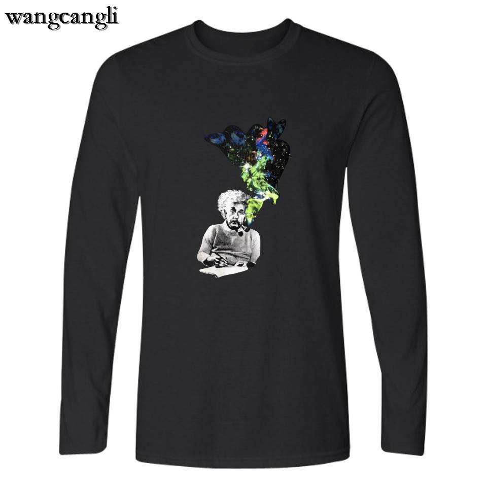 wangcangli New Fashion Hot Sale Funny Clothing Einstein T-shirt Men/women T-shirt with printed Long Sleeve T-Shirt Plus Size 4XL