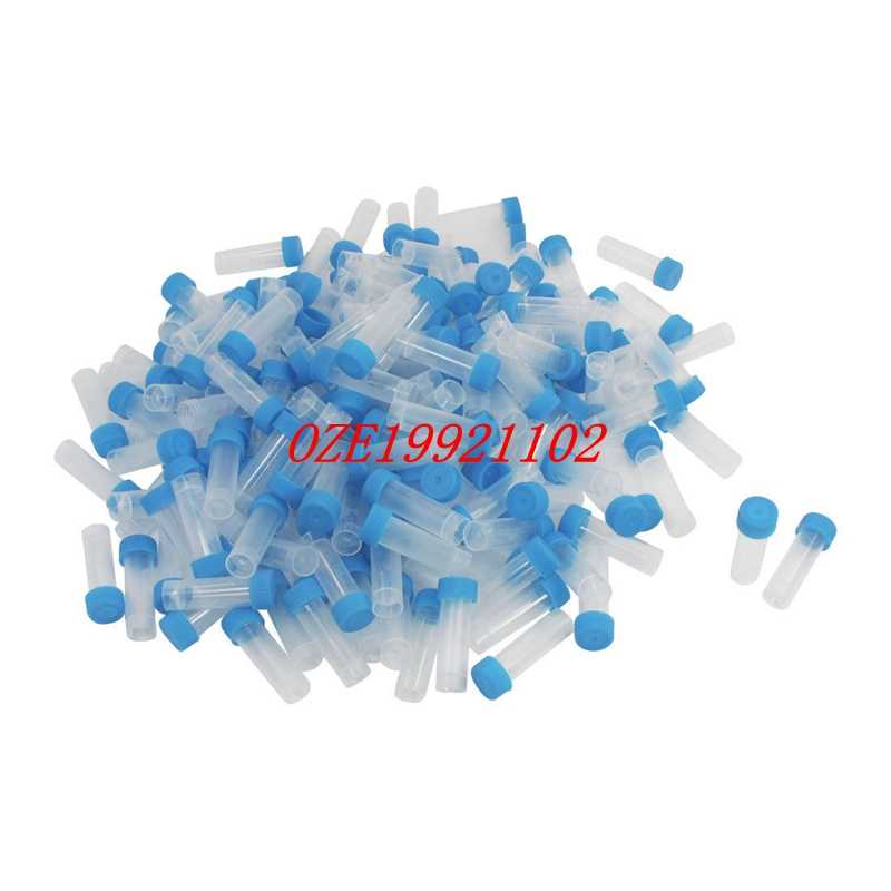 5ml Graduated Polypropylene Vial Tube Sample Container Blue Screw Caps