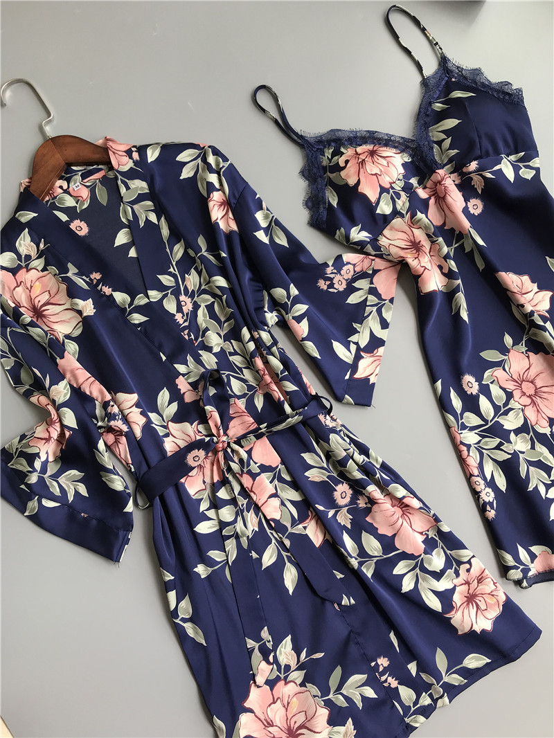 Image 3 - Fresh floral satins silk sexy robe gown sets women bathrobes kimono dressing gown lace silk flower sleepwear women robe suitsRobe & Gown Sets   -