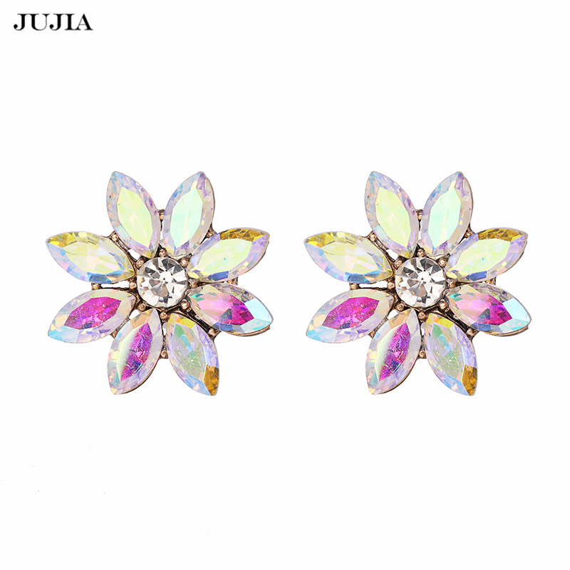 New Shiny Rhinestone Colorful Stud Earrings untuk Wanita Diamante Ear Earing Brincos Fashion Jewelry Hadiah
