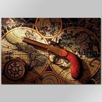 Tamanho grande estilo Retro Europa Legal Arma decoração wall art pictures bússola mapa do mundo Pintura Da Lona de impressão sala de estar sem moldura