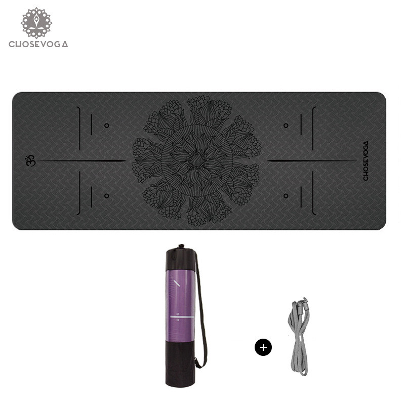 Lotus Flower Series TPE Yoga Mat 183 61cm 6mm Eco Friendly Non Slip Balance Line Fitness