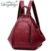 2019 Women Multifunctional Backpack Female Leather Shoulder Bags School Bag For Teenage Girls Travel Back pack Sac A Dos Femme