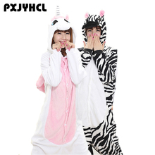 Adult Anime Zebra Kigurumi Onesies Costume For Women Animal Blue Donkey Wolf Stitch Onepieces Sleepwear Home Cloths Girl Pajamas